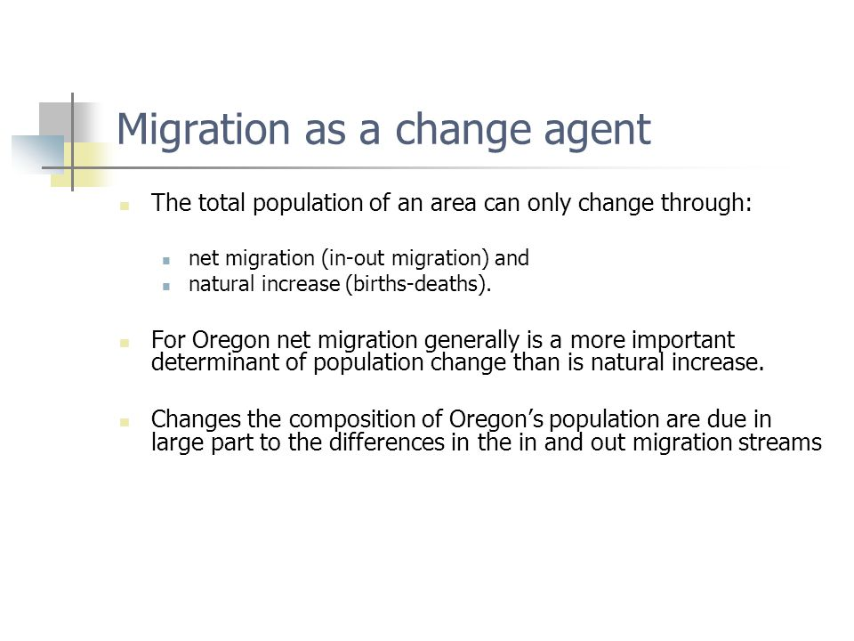 Migration as a change agent The total population of an area can only change through: net migration (in-out migration) and natural increase (births-deaths).