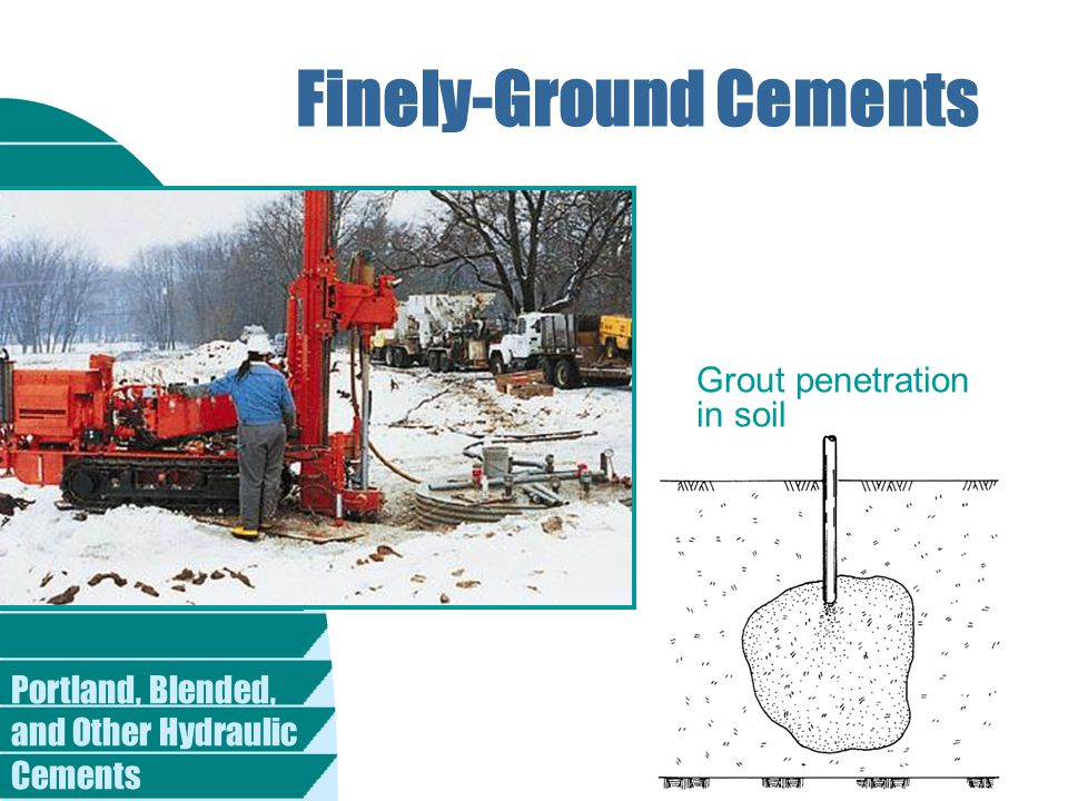 Portland, Blended, and Other Hydraulic Cements Finely-Ground Cements Grout penetration in soil