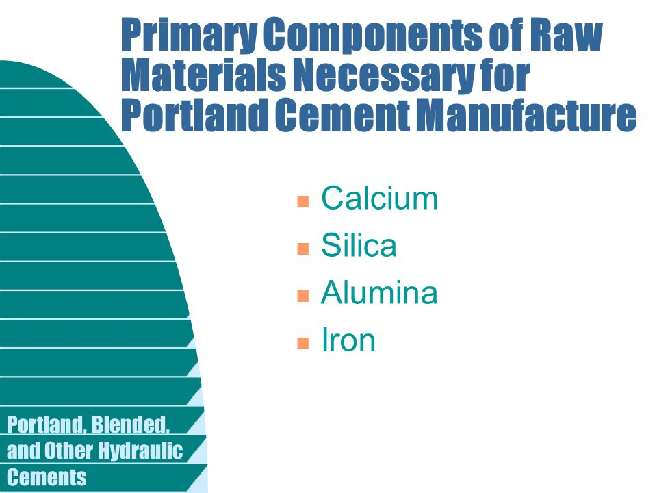 Primary Components of Raw Materials Necessary for Portland Cement Manufacture n Calcium n Silica n Alumina n Iron
