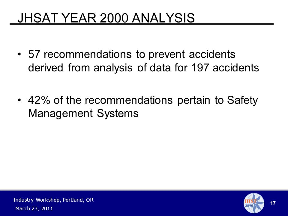 17 Industry Workshop, Portland, OR March 23, 2011 JHSAT YEAR 2000 ANALYSIS 57 recommendations to prevent accidents derived from analysis of data for 197 accidents 42% of the recommendations pertain to Safety Management Systems