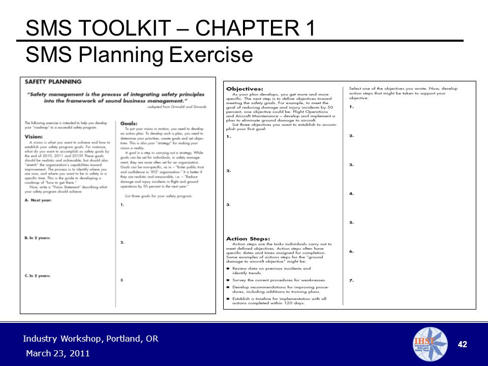 42 Industry Workshop, Portland, OR March 23, 2011 SMS TOOLKIT – CHAPTER 1 SMS Planning Exercise