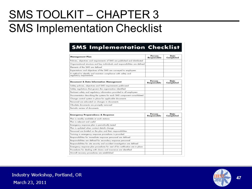47 Industry Workshop, Portland, OR March 23, 2011 SMS TOOLKIT – CHAPTER 3 SMS Implementation Checklist