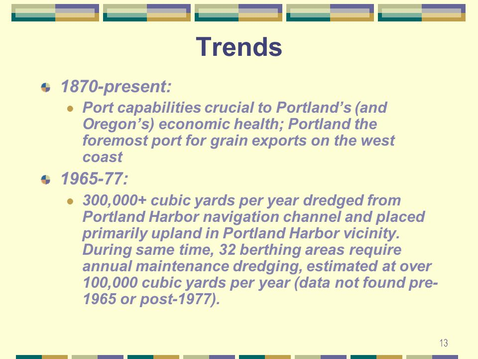 13 Trends 1870-present: Port capabilities crucial to Portland's (and Oregon's) economic health; Portland the foremost port for grain exports on the west coast 1965-77: 300,000+ cubic yards per year dredged from Portland Harbor navigation channel and placed primarily upland in Portland Harbor vicinity.