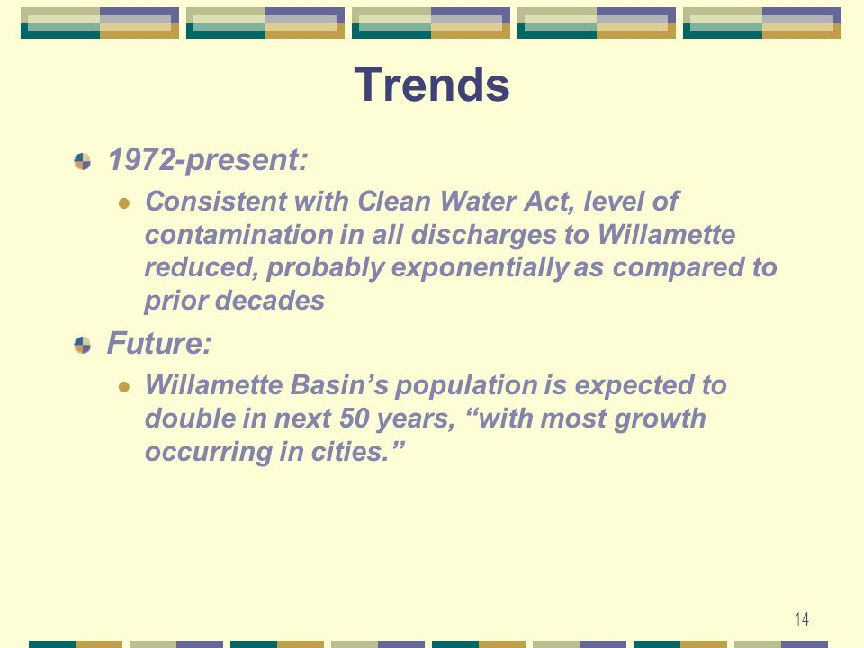 14 Trends 1972-present: Consistent with Clean Water Act, level of contamination in all discharges to Willamette reduced, probably exponentially as compared to prior decades Future: Willamette Basin's population is expected to double in next 50 years, with most growth occurring in cities.