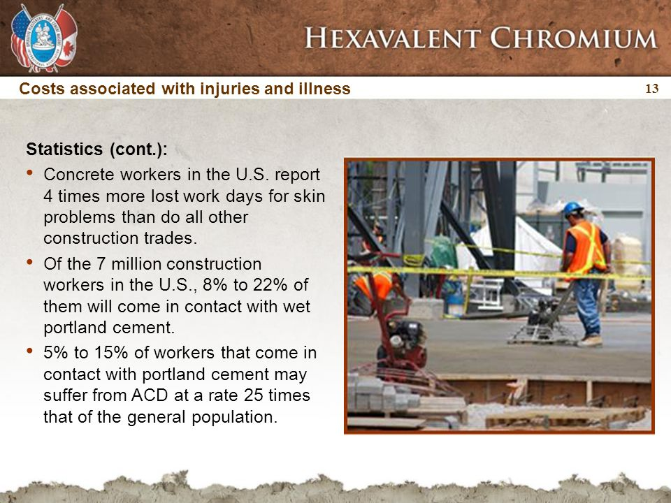 13 Costs associated with injuries and illness Statistics (cont.): Concrete workers in the U.S. report 4 times more lost work days for skin problems th