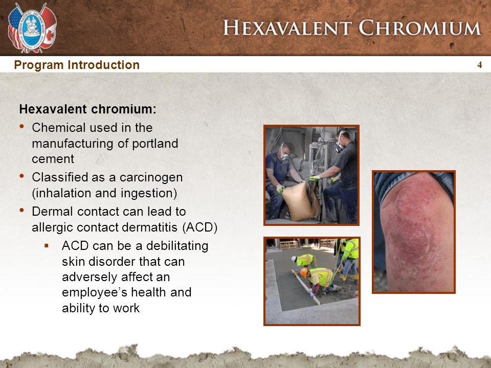 4 4 Program Introduction Hexavalent chromium: Chemical used in the manufacturing of portland cement Classified as a carcinogen (inhalation and ingesti