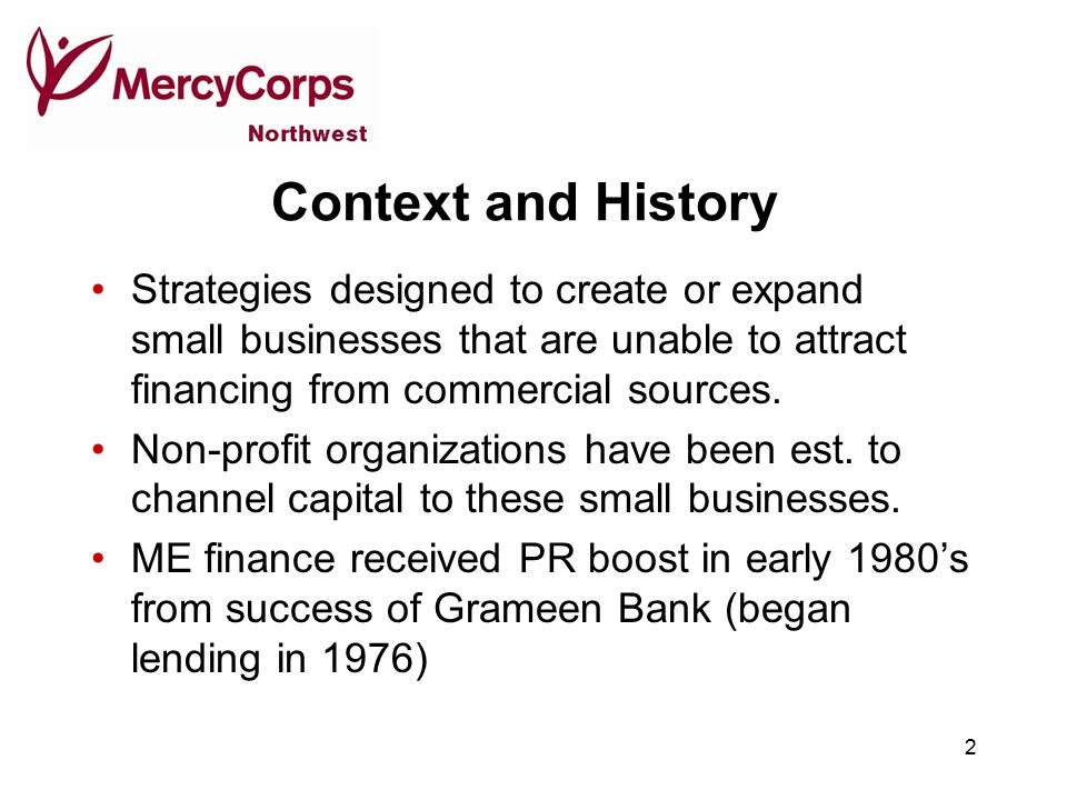 2 Context and History Strategies designed to create or expand small businesses that are unable to attract financing from commercial sources.