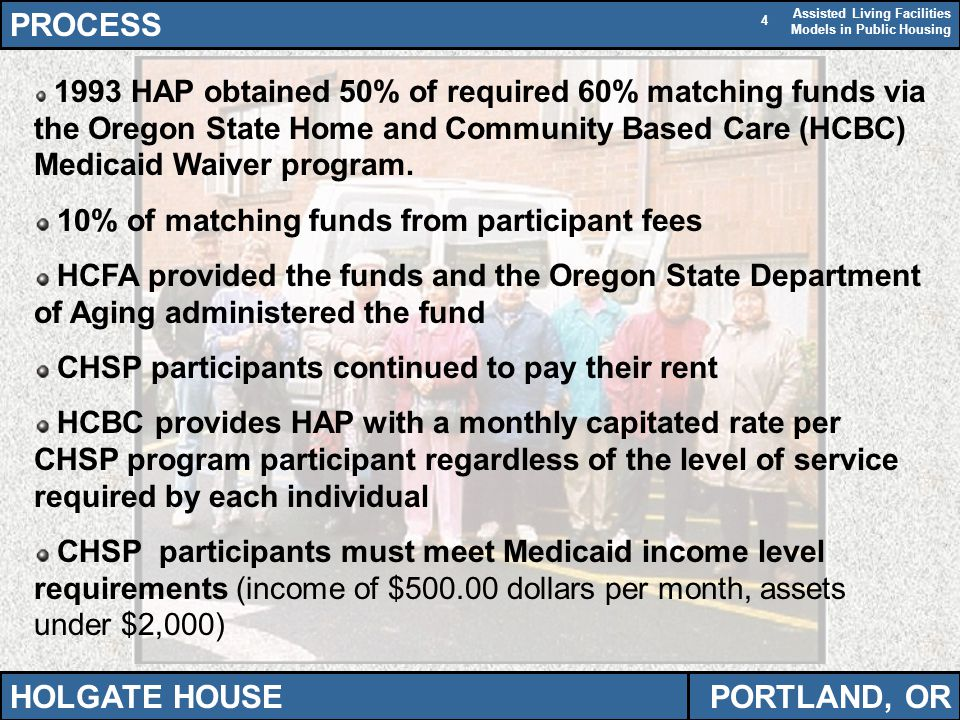 Assisted Living Facilities Models in Public Housing 4 PROCESS HOLGATE HOUSEPORTLAND, OR 1993 HAP obtained 50% of required 60% matching funds via the Oregon State Home and Community Based Care (HCBC) Medicaid Waiver program.