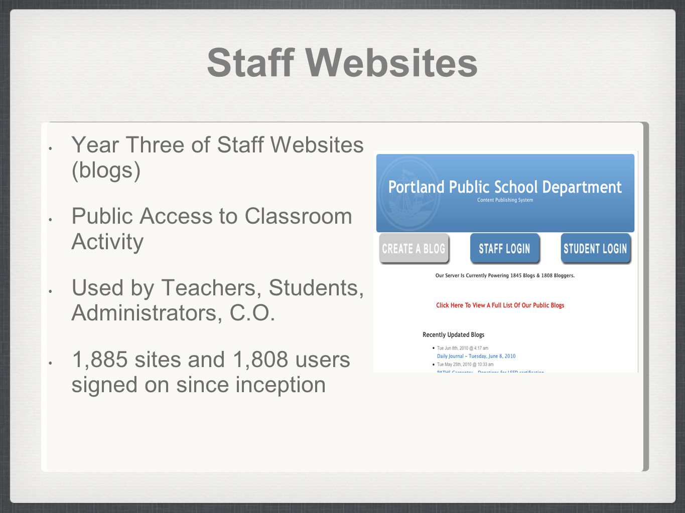 Staff Websites Year Three of Staff Websites (blogs) Public Access to Classroom Activity Used by Teachers, Students, Administrators, C.O.