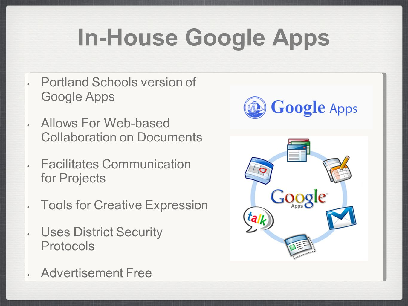 In-House Google Apps Portland Schools version of Google Apps Allows For Web-based Collaboration on Documents Facilitates Communication for Projects To