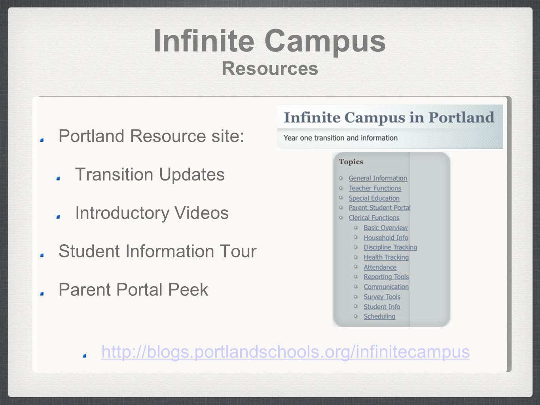 Infinite Campus Resources Portland Resource site: Transition Updates Introductory Videos Student Information Tour Parent Portal Peek http://blogs.portlandschools.org/infinitecampus