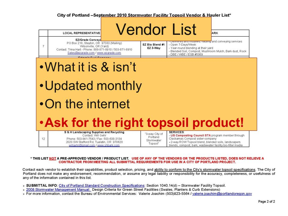 Vendor List What it is & isn't Updated monthly On the internet Ask for the right topsoil product!