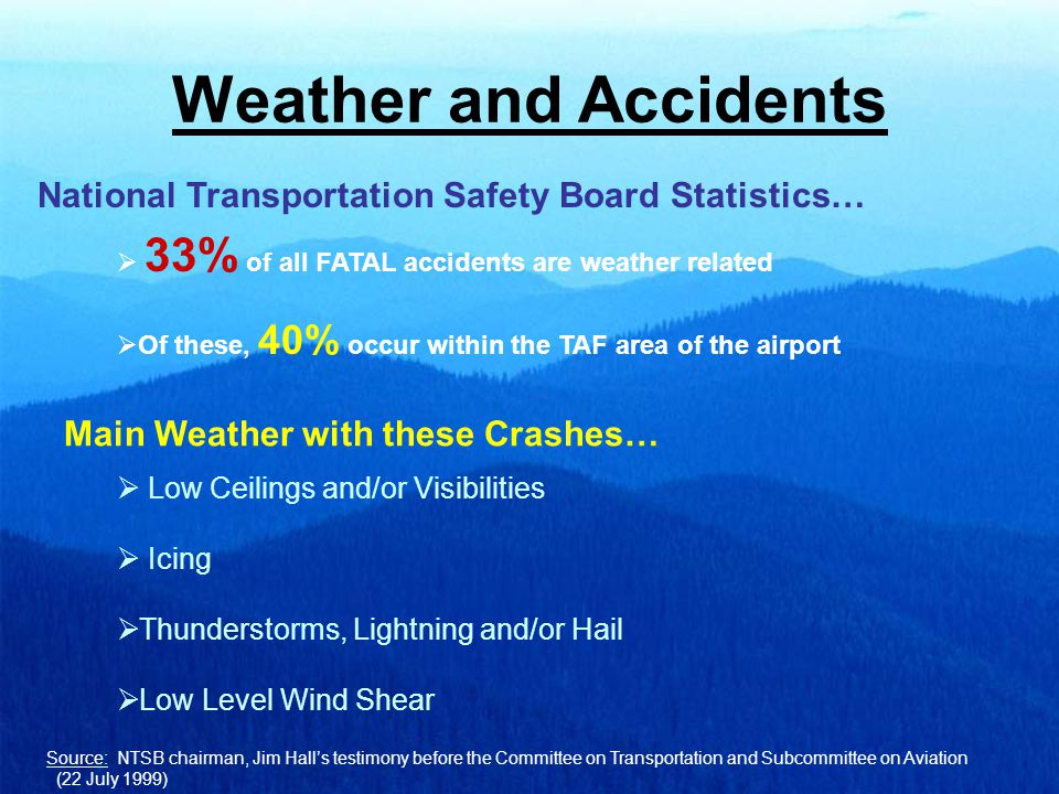 Weather and Accidents Source: NTSB chairman, Jim Hall's testimony before the Committee on Transportation and Subcommittee on Aviation (22 July 1999) National Transportation Safety Board Statistics…  33% of all FATAL accidents are weather related  Of these, 40% occur within the TAF area of the airport  Low Ceilings and/or Visibilities  Icing  Thunderstorms, Lightning and/or Hail  Low Level Wind Shear Main Weather with these Crashes…
