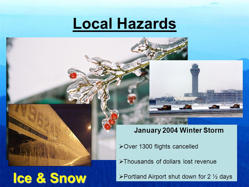 Local Hazards Strong Winds Famous Wind Storms October 12 1962, November 13-15 1981 and 12 December 1995  Thousands of dollars lost revenue  Intense Crosswinds and Strong Gusts  Winds clocked at over 90 mph at PDX