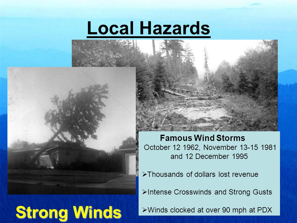 Local Hazards Strong Winds Famous Wind Storms October 12 1962, November 13-15 1981 and 12 December 1995  Thousands of dollars lost revenue  Intense Crosswinds and Strong Gusts  Winds clocked at over 90 mph at PDX