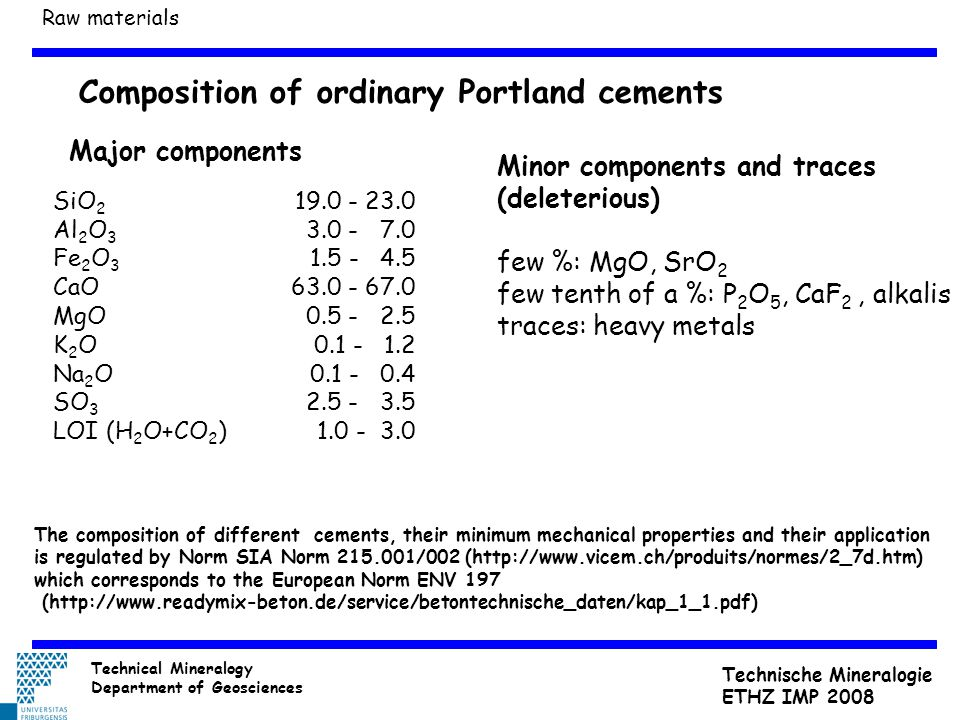 Composition of ordinary Portland cements SiO 2 Al 2 O 3 Fe 2 O 3 CaO MgO K 2 O Na 2 O SO 3 LOI (H 2 O+CO 2 ) Minor components and traces (deleterious)