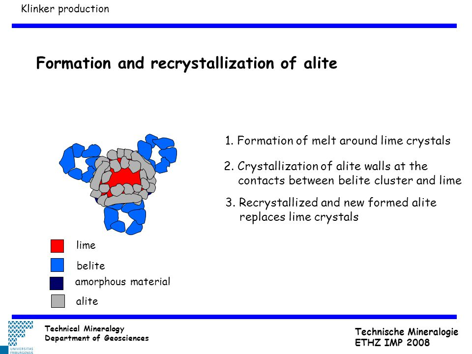 Formation and recrystallization of alite amorphous material lime belite alite 1. Formation of melt around lime crystals 2. Crystallization of alite wa