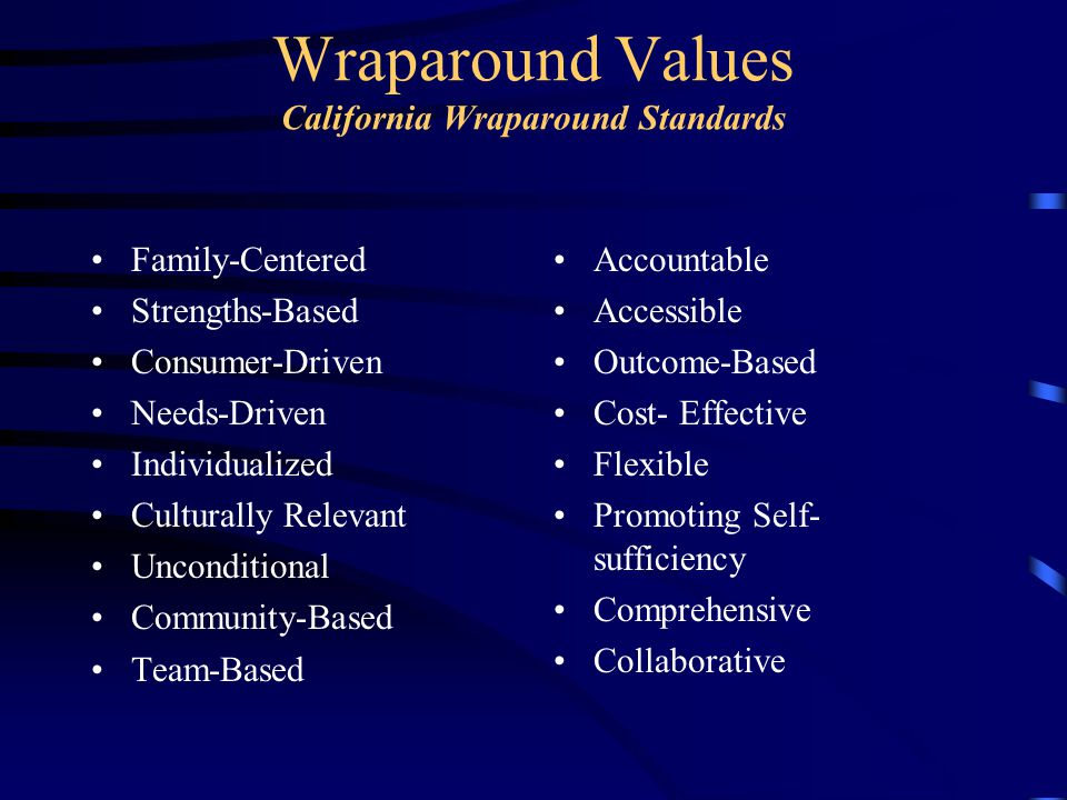 Wraparound Values California Wraparound Standards Family-Centered Strengths-Based Consumer-Driven Needs-Driven Individualized Culturally Relevant Unconditional Community-Based Team-Based Accountable Accessible Outcome-Based Cost- Effective Flexible Promoting Self- sufficiency Comprehensive Collaborative