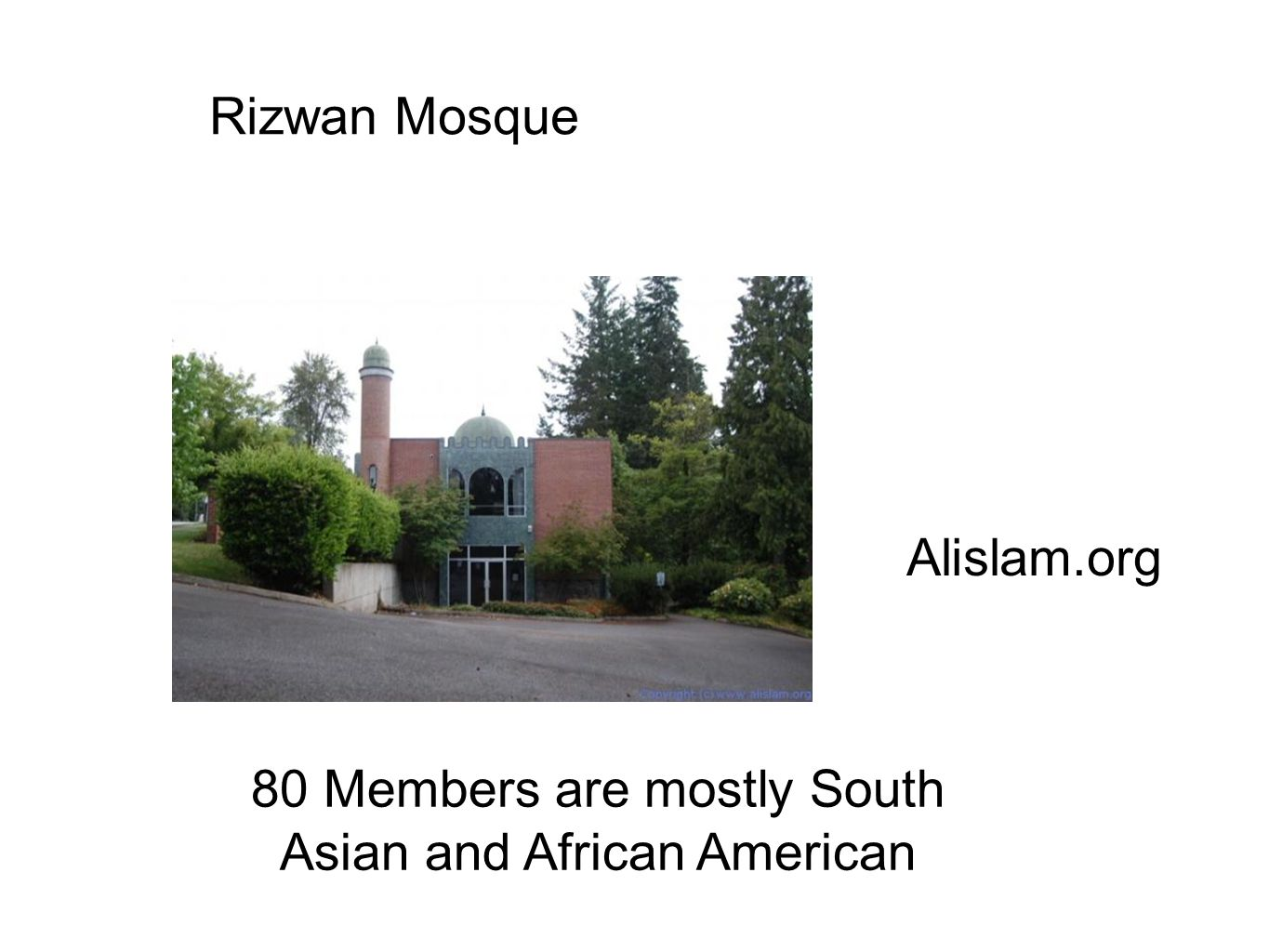 80 Members are mostly South Asian and African American Alislam.org Rizwan Mosque