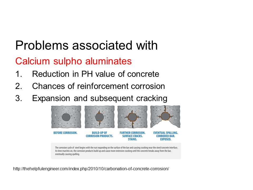 Problems associated with Calcium sulpho aluminates 1.Reduction in PH value of concrete 2.Chances of reinforcement corrosion 3.Expansion and subsequent cracking http://thehelpfulengineer.com/index.php/2010/10/carbonation-of-concrete-corrosion/