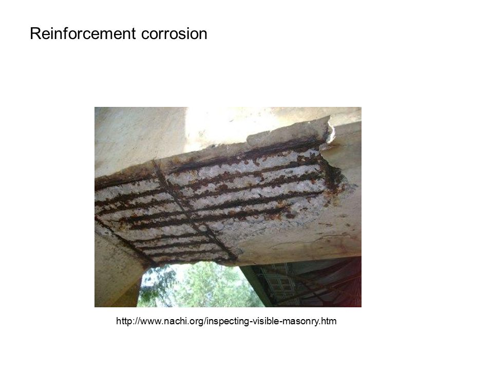 Reinforcement corrosion http://www.nachi.org/inspecting-visible-masonry.htm
