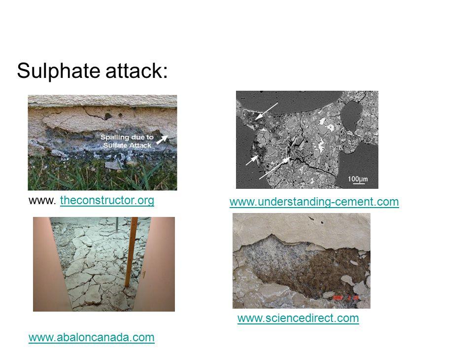 Sulphate attack: www.abaloncanada.com www.understanding-cement.com www.