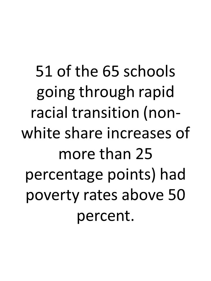 51 of the 65 schools going through rapid racial transition (non- white share increases of more than 25 percentage points) had poverty rates above 50 percent.