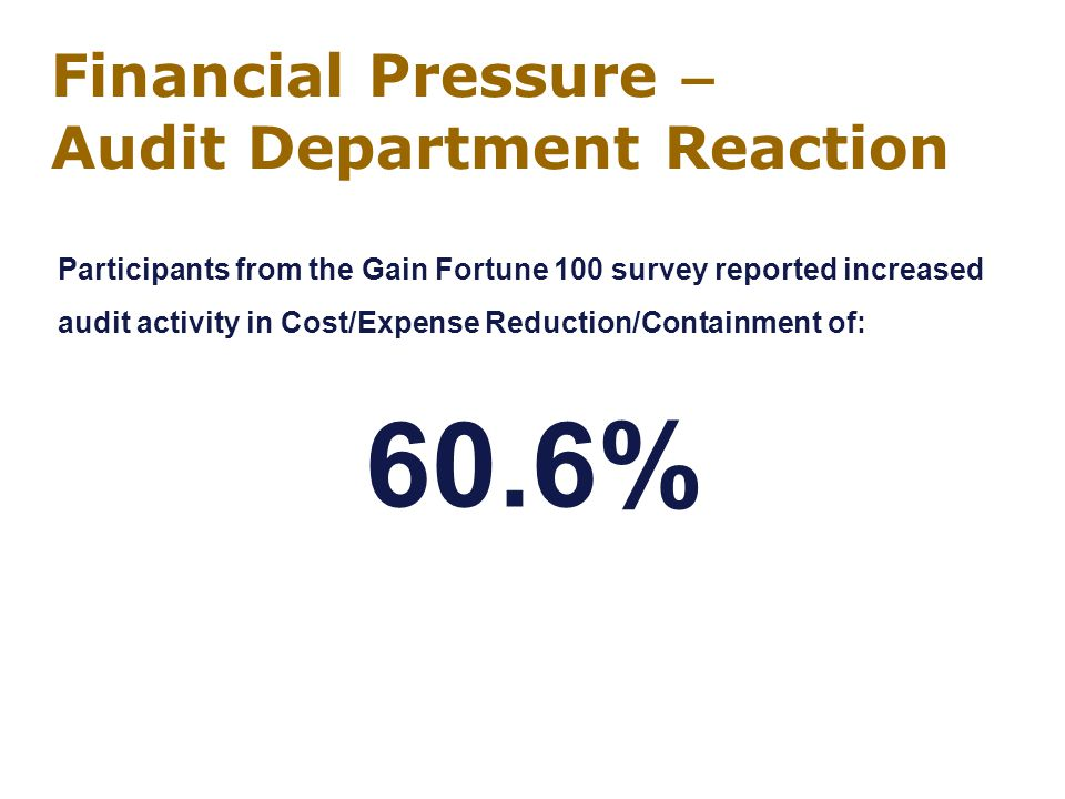Financial Pressure – Audit Department Reaction Participants from the Gain Fortune 100 survey reported increased audit activity in Cost/Expense Reduction/Containment of: 60.6%