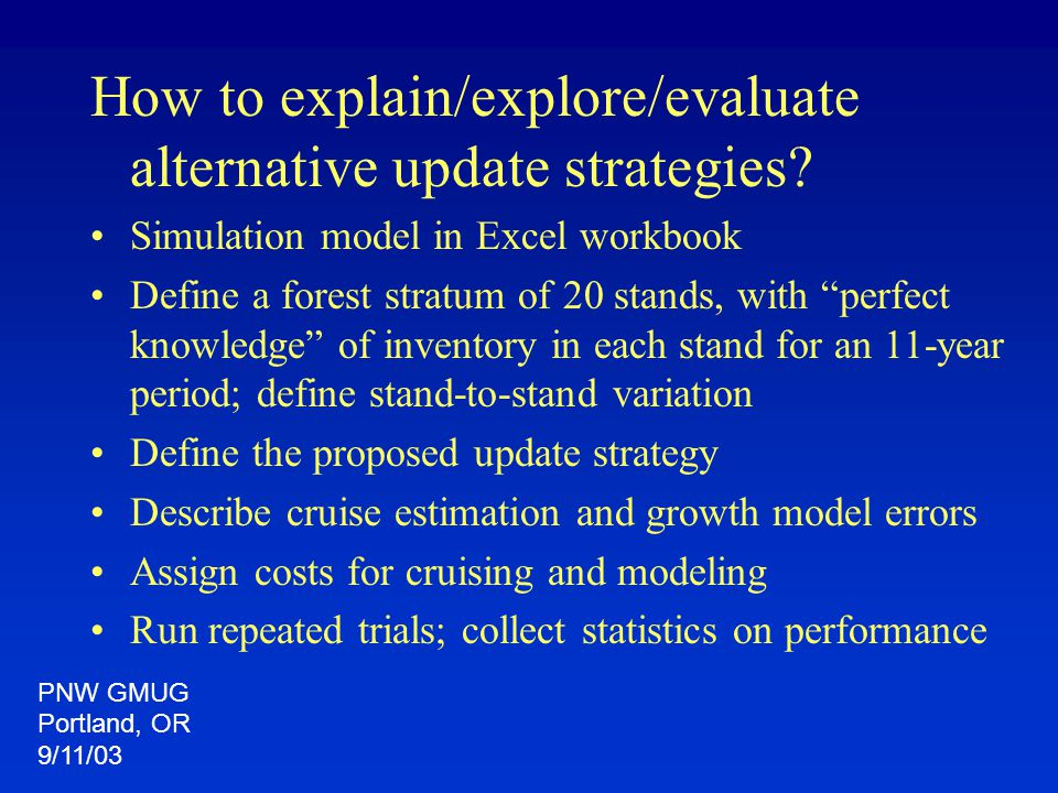 "How to explain/explore/evaluate alternative update strategies? Simulation model in Excel workbook Define a forest stratum of 20 stands, with ""perfect"
