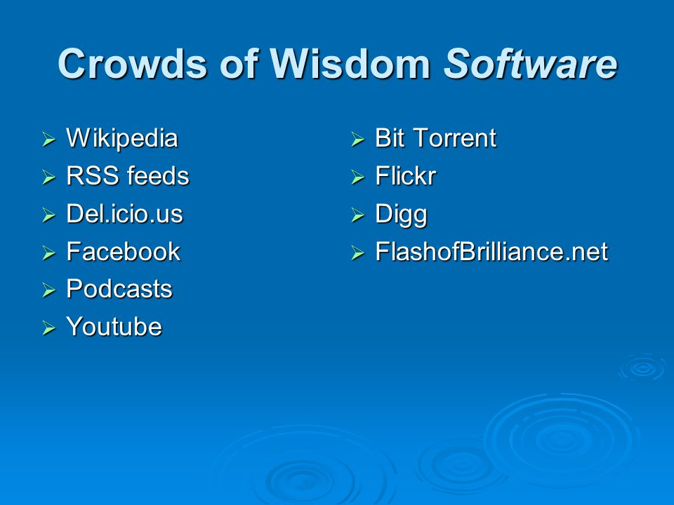 Crowds of Wisdom Software  Wikipedia  RSS feeds  Del.icio.us  Facebook  Podcasts  Youtube  Bit Torrent  Flickr  Digg  FlashofBrilliance.net