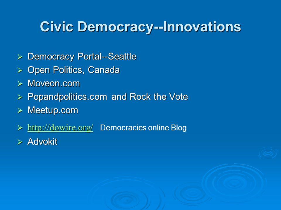 Civic Democracy--Innovations  Democracy Portal--Seattle  Open Politics, Canada  Moveon.com  Popandpolitics.com and Rock the Vote  Meetup.com  http://dowire.org/  http://dowire.org/ Democracies online Blog http://dowire.org/  Advokit