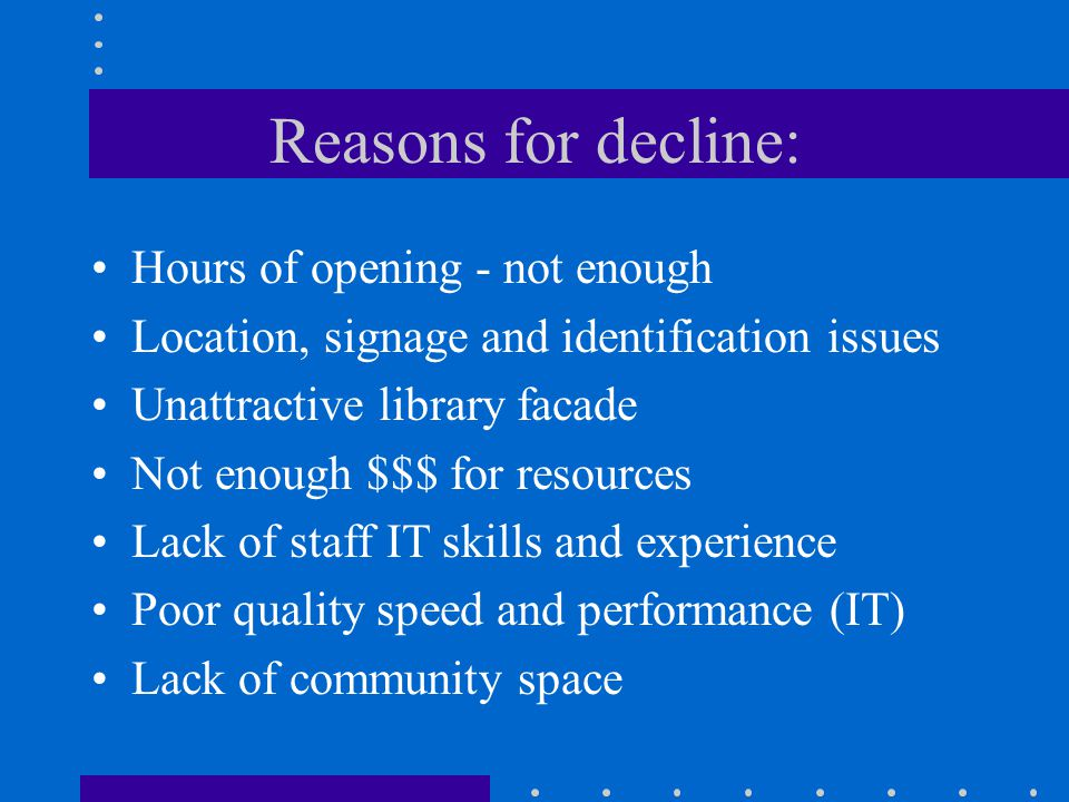 Reasons for decline: Hours of opening - not enough Location, signage and identification issues Unattractive library facade Not enough $$$ for resource