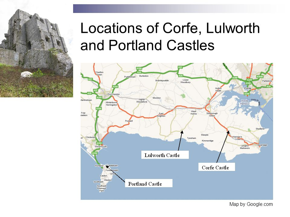 Locations of Corfe, Lulworth and Portland Castles Map by Google.com