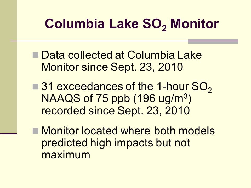 Columbia Lake SO 2 Monitor Data collected at Columbia Lake Monitor since Sept. 23, 2010 31 exceedances of the 1-hour SO 2 NAAQS of 75 ppb (196 ug/m 3