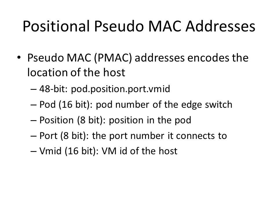 Positional Pseudo MAC Addresses Pseudo MAC (PMAC) addresses encodes the location of the host – 48-bit: pod.position.port.vmid – Pod (16 bit): pod number of the edge switch – Position (8 bit): position in the pod – Port (8 bit): the port number it connects to – Vmid (16 bit): VM id of the host