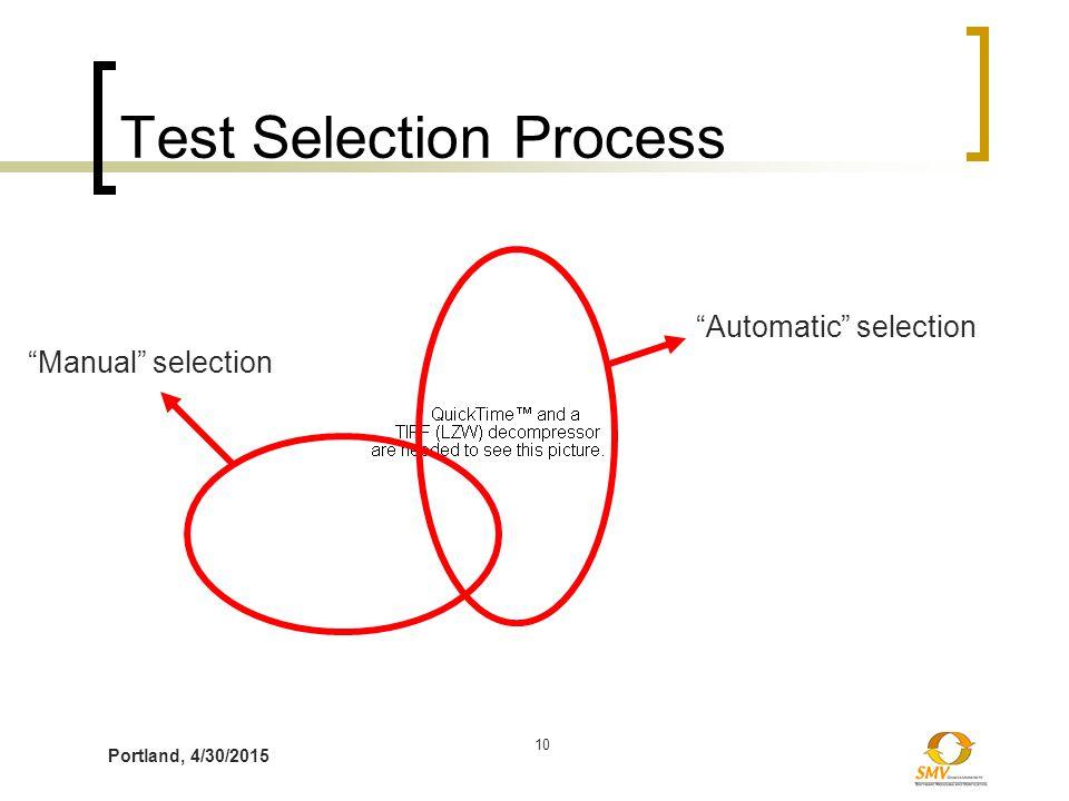 "Portland, 4/30/2015 10 Test Selection Process ""Manual"" selection ""Automatic"" selection"