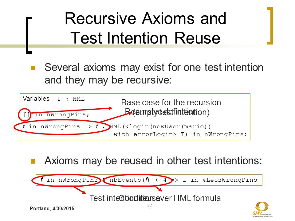 Portland, 4/30/2015 22 Recursive Axioms and Test Intention Reuse Several axioms may exist for one test intention and they may be recursive: Variables f : HML [] in nWrongPins; f in nWrongPins => f.