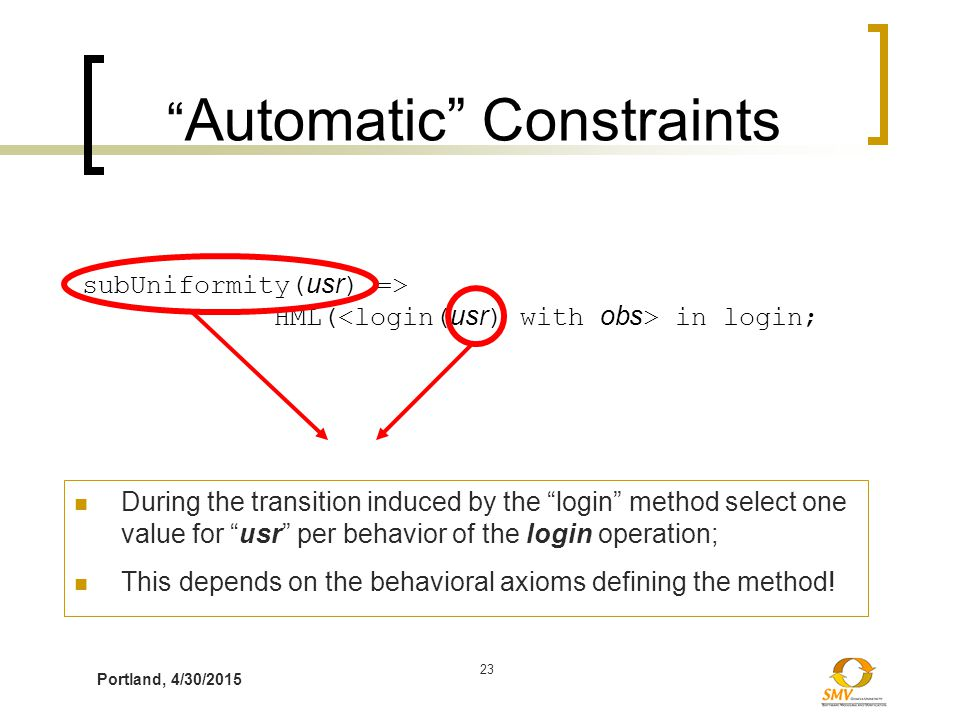 """Portland, 4/30/2015 23 """" Automatic"""" Constraints subUniformity( usr ) => HML( in login; During the transition induced by the """"login"""" method select one"""