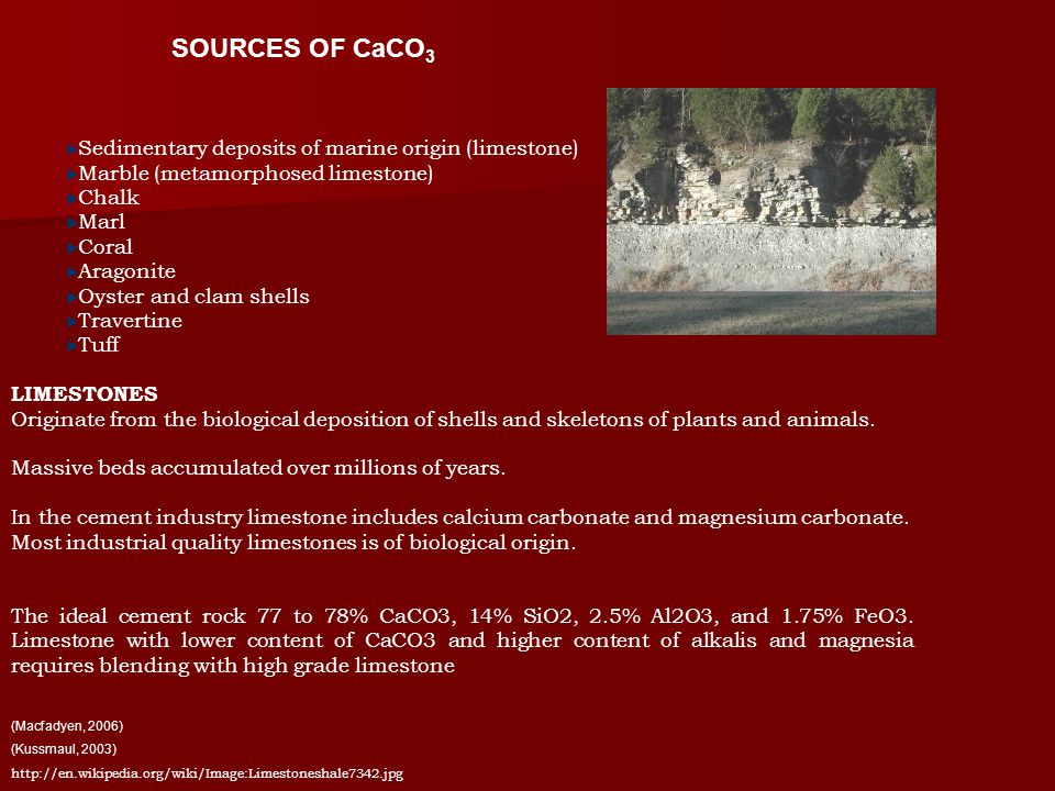 Sedimentary deposits of marine origin (limestone) Marble (metamorphosed limestone) Chalk Marl Coral Aragonite Oyster and clam shells Travertine Tuff LIMESTONES Originate from the biological deposition of shells and skeletons of plants and animals.