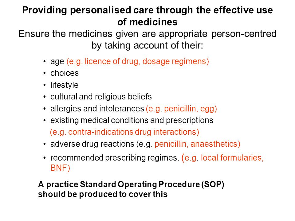 Manage risk through effective procedures about medicines handling For any drugs which the practice personally administers Clear procedures followed in practice, monitored and reviewed for medicines handling that include obtaining, Controlled drug private prescriptions safe storage, Controlled drug cupboard prescribing, SOP and SOP for controlled drugs dispensing, SOP to include labelling requirements preparation, SOP administration, SOP monitoring and disposal.