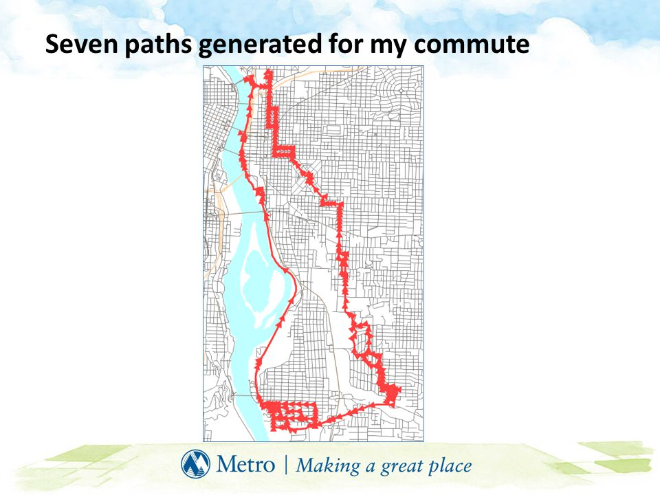 Seven paths generated for my commute