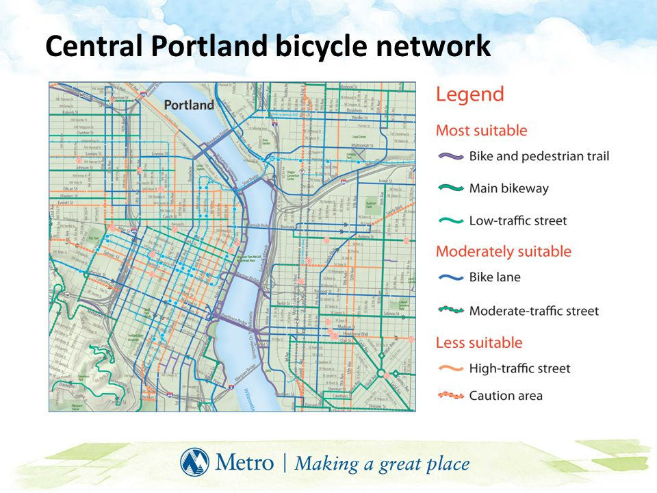 Bicycle boulevards Low-volume, low-speed streets optimized for bike travel Treatments include traffic calming/diversion, signage and pavement markings, and intersection controls Through movements for bikes prioritized over other modes