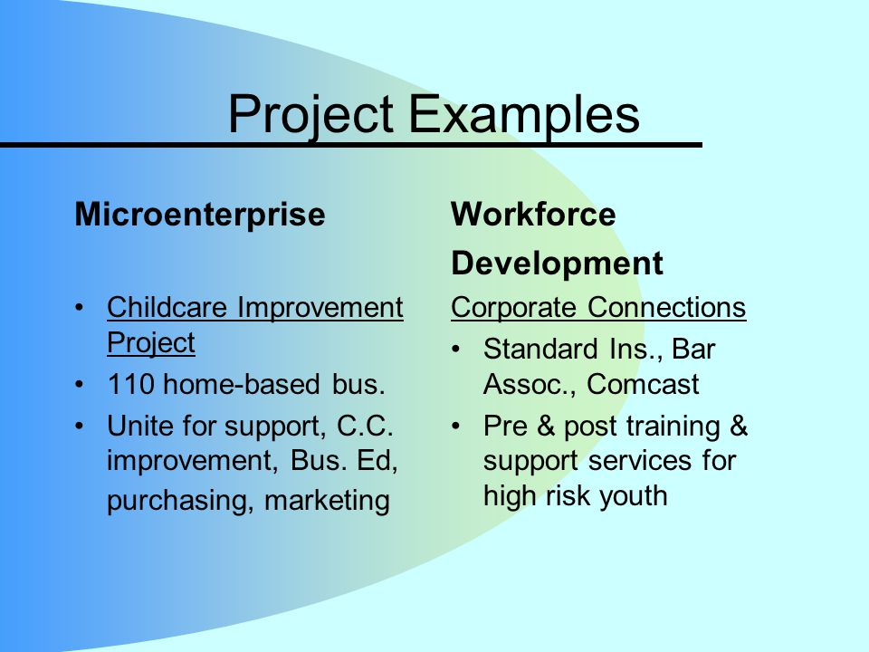 Project Examples Microenterprise Childcare Improvement Project 110 home-based bus. Unite for support, C.C. improvement, Bus. Ed, purchasing, marketing