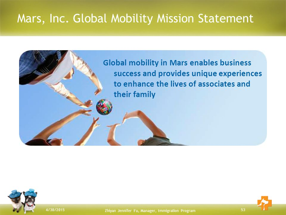 Mars, Inc. Global Mobility Mission Statement 534/30/2015 Global mobility in Mars enables business success and provides unique experiences to enhance t