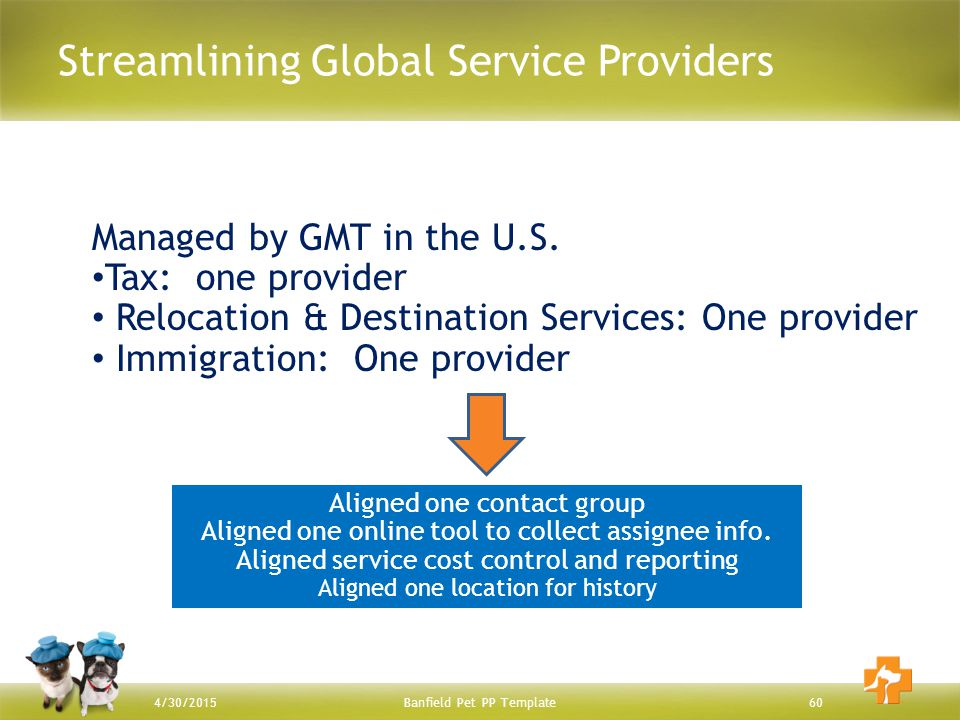 Streamlining Global Service Providers Banfield Pet PP Template604/30/2015 Managed by GMT in the U.S. Tax: one provider Relocation & Destination Servic