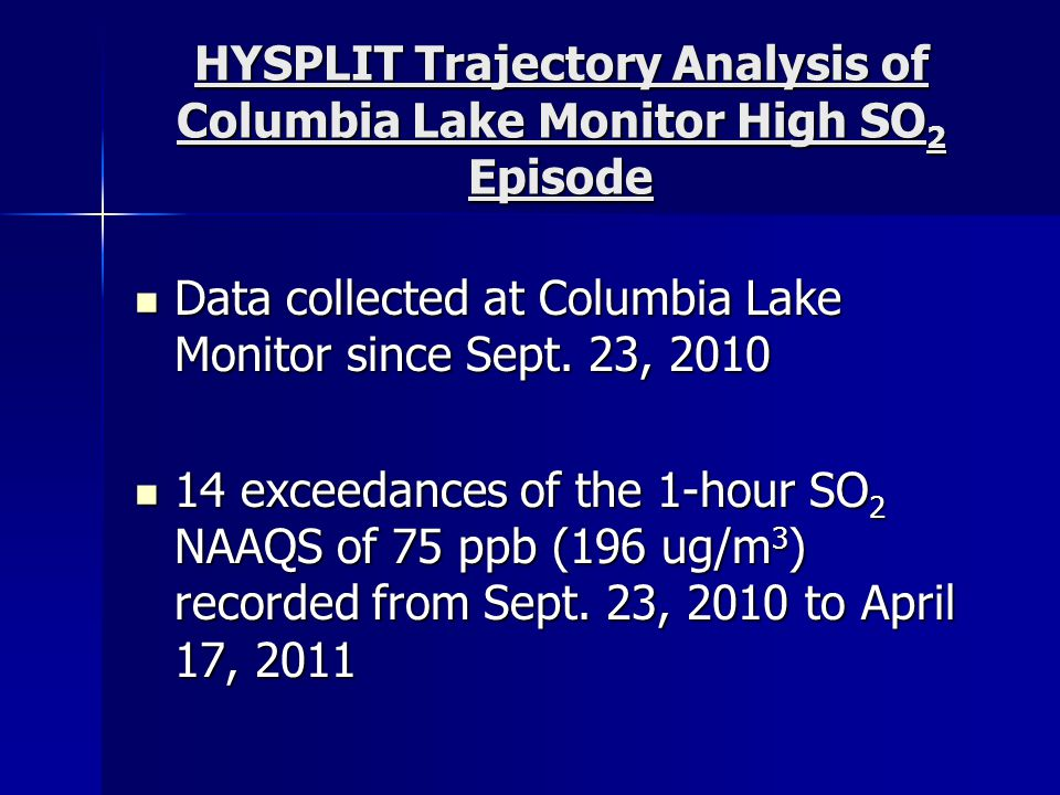 HYSPLIT Trajectory Analysis of Columbia Lake Monitor High SO 2 Episode Data collected at Columbia Lake Monitor since Sept. 23, 2010 Data collected at
