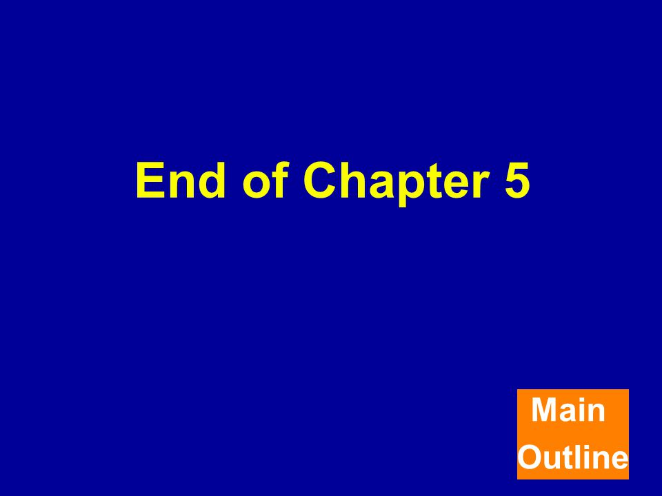 End of Chapter 5 Main Outline