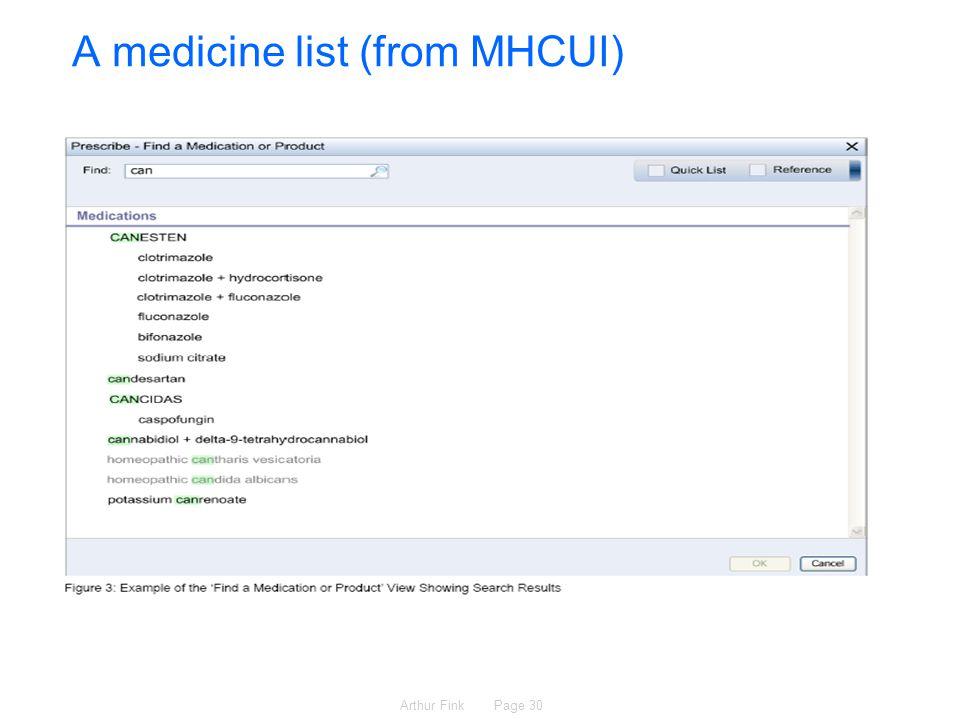 Arthur Fink Page 30 A medicine list (from MHCUI)