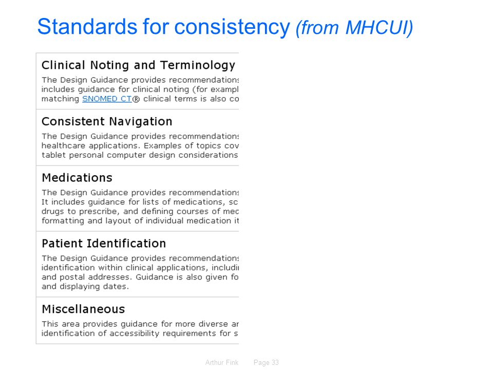 Arthur Fink Page 33 Standards for consistency (from MHCUI)