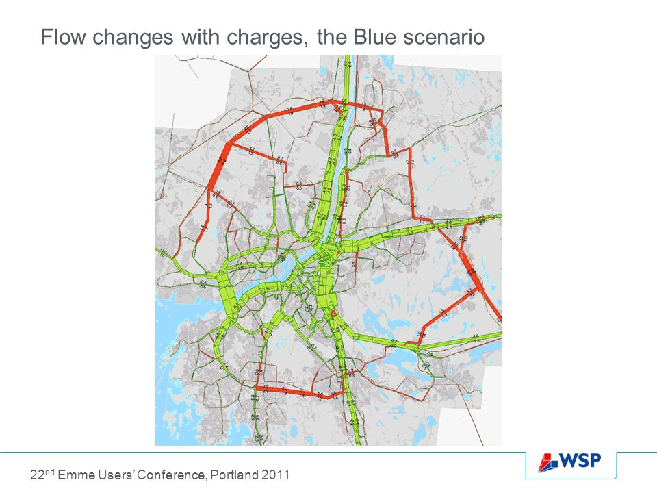 Flow changes with charges, the Blue scenario 22 nd Emme Users' Conference, Portland 2011